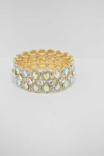 Aurora Borealis/Clear Gold Two Rows Pear Shape Stretch Bracelet