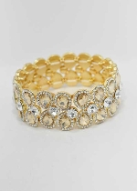 Light Colorado/Clear Gold Two Rows Pear Shape Stretch Bracelet