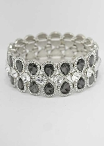 Black Diamond/Clear Silver Two Rows Pear Shape Stretch Bracelet
