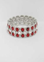 Siam Light/Clear Silver Two Rows Pear Stone Bracelet