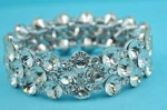 Clear Silver Three Multiple Stones Stretch Bracelet