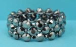 Black Diamond/Hematite Multiple Round Stone Stretch Bracelet