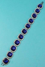 Sapphire/Clear Silver One Row Square Stone Bracelet