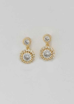 Cubic Zirconia/Gold Small Two Round Stone Earring