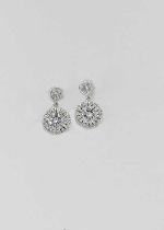 "Cubic Zirconia/Silver Two Small Round Stone 0.5"" Post Earring"