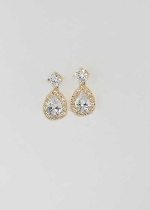 Cubic Zirconia/Gold Top Round Stone Bottom Pear Stone Earring