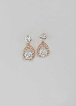 Cubic Zirconia/Rose Gold Top Round Stone Bottom Pear Shape