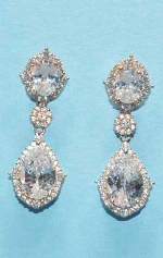 """Cubic Zirconia/Rose Gold Two Mirror Shape 1"""" Post Earring"""
