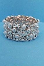 Pearl/Clear Rose Gold Multiple Size Round Stone Stretch Bracelet