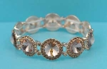 Light Peach/One Row Round Stone Stretch Bracelet