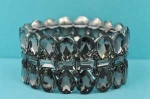 Black Diamond/Hematite Three Row Pear/Baguette Stone Bracelet