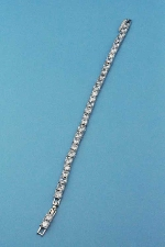 Cubic Zirconia/Silver One Row Pincess Cut Bracelet