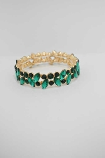 Emerald/Gold One Row Multiple Stone Stretch Bracelet