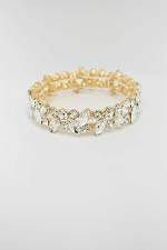 Clear/Gold One Row Multiple Stone Stretch Bracelet
