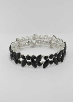Jet/Silver One Row Multiple Stone Stretch Bracelet