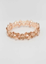 Light Peach/Rose Gold One Row Multiple Stone Stretch Bracelet