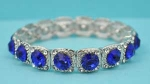 Sapphire/Clear Silver Square Shape Middle Round Stone Stretch Bracelet