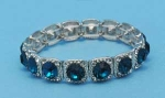 Blue Zirconia/Clear Silver Square Shape Middle Round Stone Stretch Bracelet