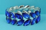 Sapphire/Silver Two Marquise Row Stone Stretch Bracelet