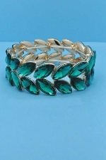 Emerald/Gold Two Rows Marquise Stone Stretch Bracelet