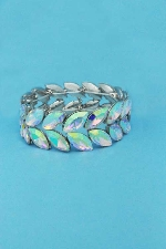 Aurora Borealis/Silver Two Rows Marquise Shape Stretch Bracelet