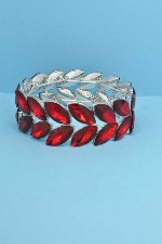 Siam Light/Silver Two Rows Marquise Shape Stretch Bracelet