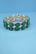 Emerald/Gold Two Rows Pear Stone Stretch Bracelet
