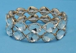CLear/Gold Two Rows Pear Stone Stretch Bracelet