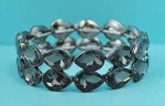 Hematite/Hematite Two Rows Pear Shape Stretch Bracelet