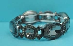 Black Diamond/Hematite One Shape Stretch Bracelet