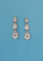 "Cubic Zirconia/Rose Gold Three Small Stone Pearshape 1"" Post Earring"