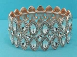 Clear/Rose Gold Three Row Marquise/Round Stretch Bracelet