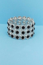 Jet/Clear Three Round Rows Stretch Bracelet