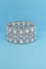 Clear/Silver Three Rows Pear/Round Stone Stretch Bracelet