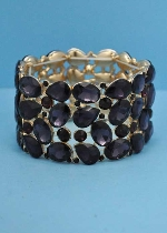 Amethyst/Gold Thick Stretch Bracelet Multiple Stone Bracelet