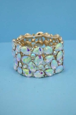 Aurora Borealis/Gold Multiple Stone Stretch Thick Bracelet