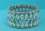 Aurora Borealis/Clear Medium Pear/Round Stone Stretch Bracelet