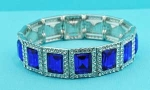 Sapphire/Clear Silver One Row Square Shape Stretch Bracelet