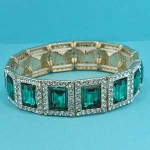 Emerald/Clear Gold One Row Square Shape Stretch Bracelet