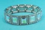 Aurora Borealis/CLear Silver One Row Square Shape Stretch Bracelet