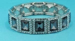Black Diamond/Clear Silver one Row Square Shape Stretch Bracelet