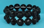 Jet/Black Two Row Round Stone Stretch Bracelet