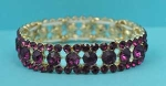 Fuchsia/Gold One Row Round Stone Stretch Bracelet
