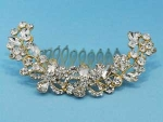 Clear/Gold Flower Leaves Comb