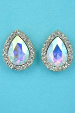 "Aurora Borealis/Clear Gold Small Pear Stone 1"" Post Earring"