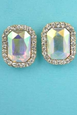 "Aurora Borealis/Clear Silver Single Emerald Stone 1"" Post Earring"