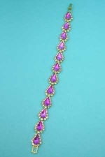 Fuchsia/Clear Gold 1 Row Drop Stone Framed Bracelet