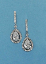 """Cubic Zirconia/Silver Top Stick Dancing Pearshape Stone 1.5"""" Post Earring"""