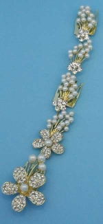 Pearl/Clear Gold Flower Branch Headband