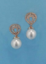 "Pearl/Cubic Zirconia Rose Gold Top Shell 1"" Post Earring"